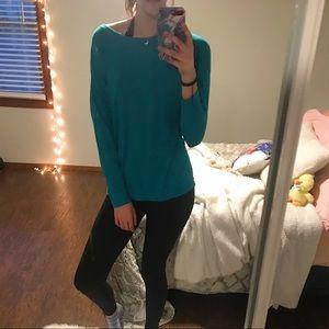 Teal workout long sleeve shirt
